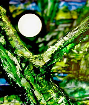 Full Moon Behind the Tree Alcohol Inks by Danielle  Parent