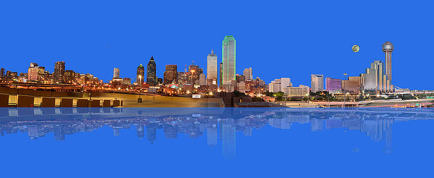 Full Moon Over Dallas Reflected by Jim Martin