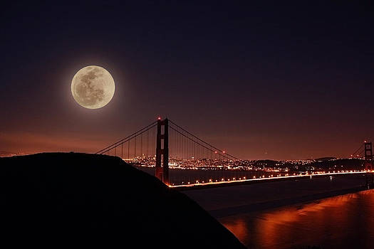 Full Moon Over the Golden Gate Bridge by Laurie Larson