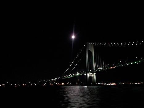 Full Moon Rising and Verrazano Bridge by Anastasia Pleasant