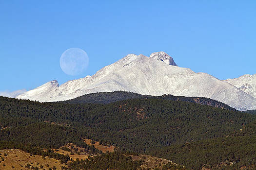 James BO  Insogna - Full Moon Setting Over Snow Covered Twin Peaks