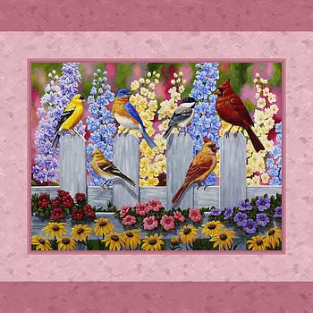 Crista Forest - Garden Birds Duvet Cover Pink