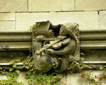 Gargoyle Musician University of Chicago 2009 by Joseph Duba