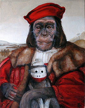 Gentleman Chimp and His Sock Monkey by Margot King