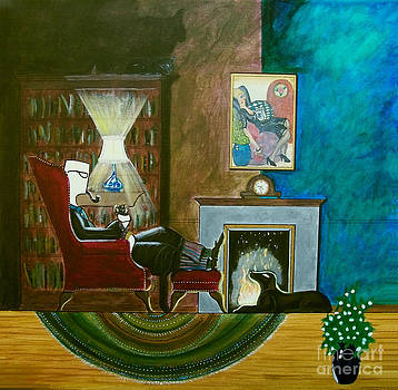 Gentleman Sitting in Wingback Chair Enjoying a Brandy by John Lyes