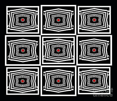Geometric Op Art Black White Red Digital Abstract Print No.378. by Drinka Mercep