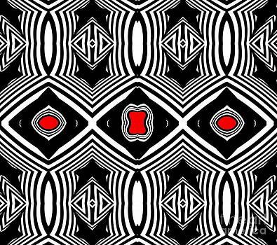 Pattern Black White Red Op Art No.389. by Drinka Mercep