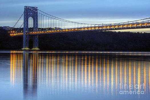 George Washington Bridge Dusk Reflections by Daniel Portalatin Photography