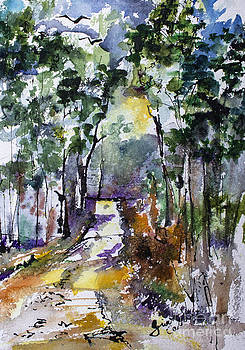 Ginette Callaway - Georgia Winter Pines Watercolor