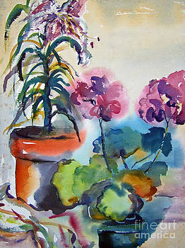 Geranium and Lilies by Betty Pinkston