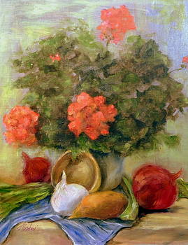 Geraniums And Veggies by Anne Barberi