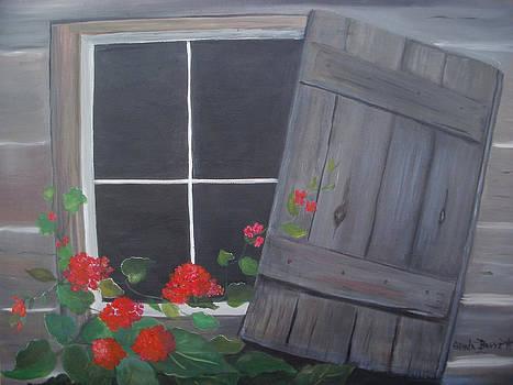 Geraniums at log cabin by Glenda Barrett