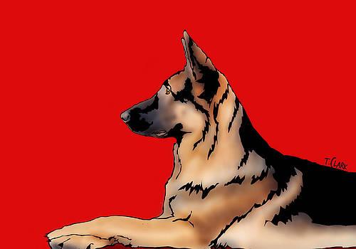 German Shepherd on Red by Tony Clark