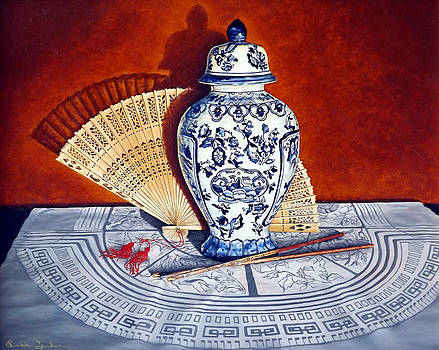 Ginger Jar and Fan by Linda Becker