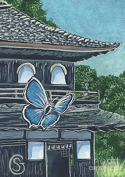 Ginkakuji Temple with Japanese Butterfly by Sherry Goeben