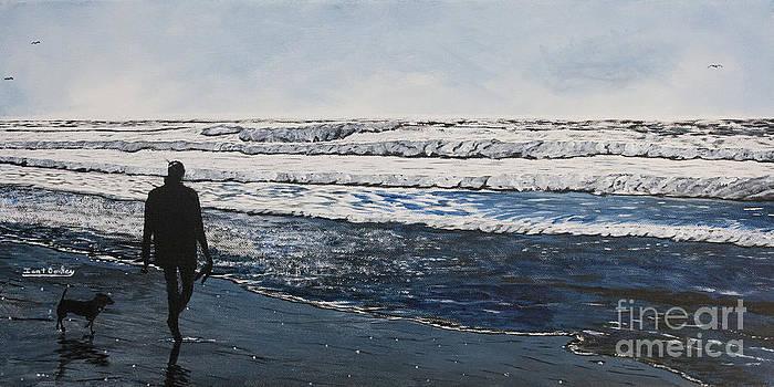 Ian Donley - Girl and Dog Walking on the Beach