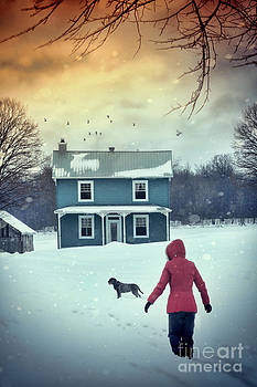 Sandra Cunningham - Girl and her dog walking to farm house