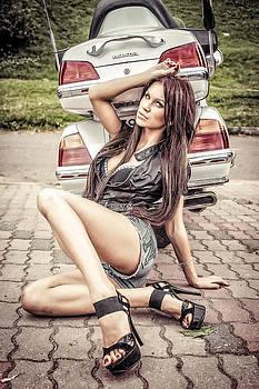 Girl and Honda by Oleg Koryagin