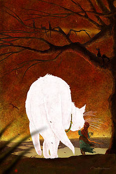 Girl and white cat by Dmitry Rezchikov
