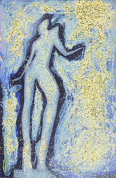 Girl dancing in swirling blues and yellows an analog darkoom photographic print painting by Edward Olive