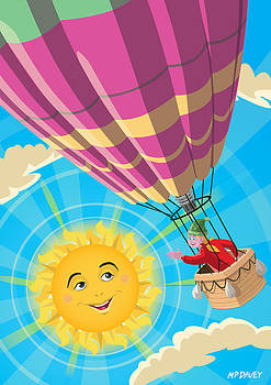 Martin Davey - Girl in a balloon greeting a happy sun