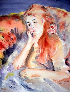 Girl Lounging  after Renoir by Nancy Pratt