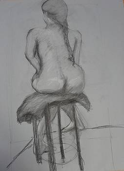 Girl on a Stool in charcol by Dalene Turner