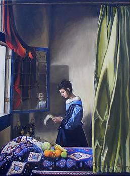 Girl Reading a Letter By A Window by Alan Berkman