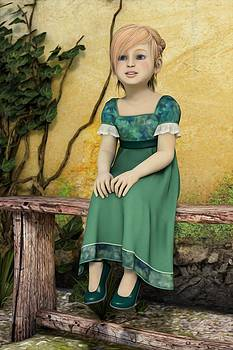 Liam Liberty - Girl Sitting in The Garden - Portrait