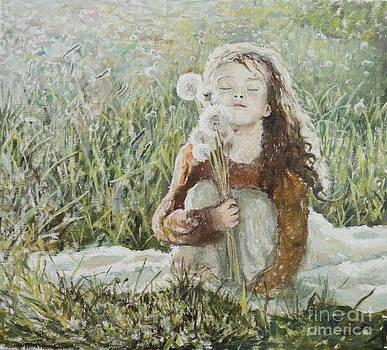 Girl with dandelions by Eugene Maksim