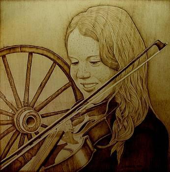 Girl With Fiddle by Jo Schwartz