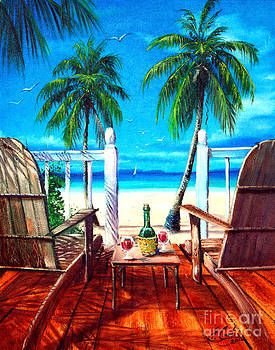 Glass Of Wine At The Beach by Earl Butch Curtis