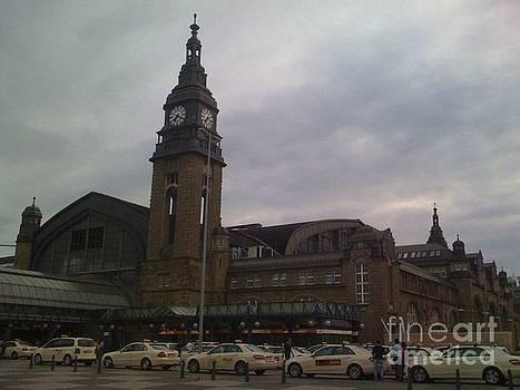 Gloomy train station Hamburg Germany by Sherri Durrell