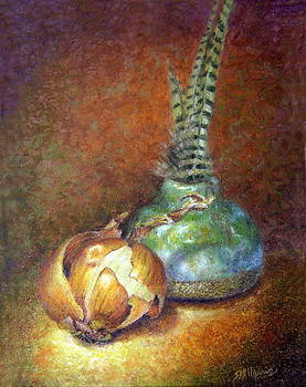 Glowing Onion and Feathers by Sharen AK Harris