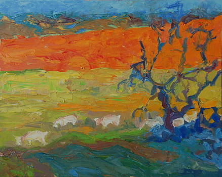 Goats with Orange Hill and Blue Tree by Thomas Bertram POOLE