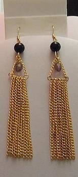 Gold Chain and Black Pearl Tassel Earrings by Kimberly Johnson