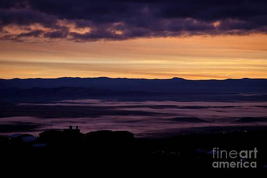 Gold Sky Purple Fog Sunrise by Ron Chilston