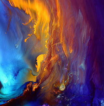 Gold Waterfall - Liquid Gold Abstract Art by kredart by Serg Wiaderny