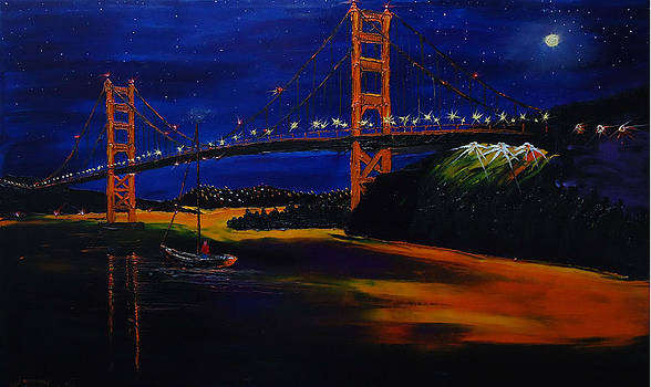 Golden Gate Bridge By Moon Light by Portland Art Creations