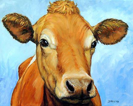 Golden Jersey Cow on Blue by Dottie Dracos