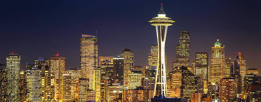 Golden Seattle Night by Dan Mihai