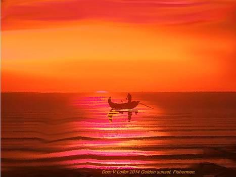 Golden sunset. Fishermen. by Dr Loifer Vladimir
