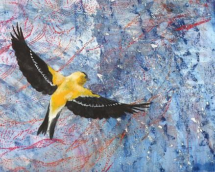 Goldfinch in Flight by Sara Bell