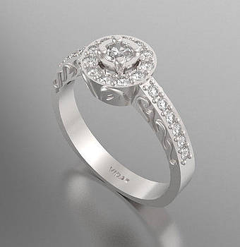 Gorgeous Diamond 14k White Gold Engagement Ring  by Roi Avidar