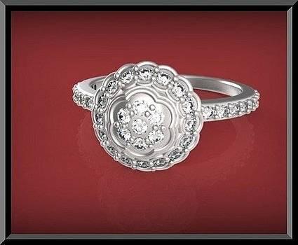 Gorgeous Flower Diamond 14k White Gold Engagement Ring by Roi Avidar