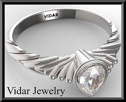 Gorgeous Pear Diamond 14k White Gold Engagement Ring  by Roi Avidar