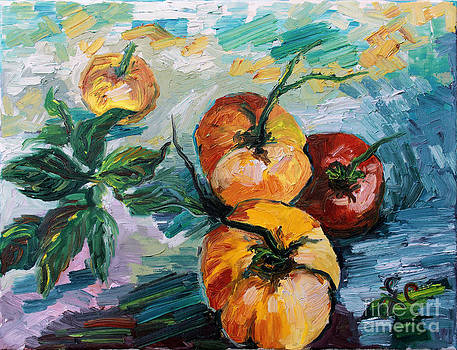 Ginette Callaway - Gourmet Heirloom Tomatoes and Basil Still Life
