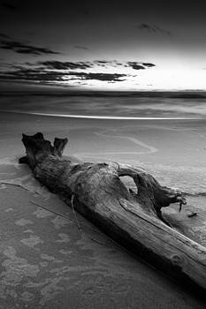 Grand Haven Sunset 1 Black and White by Rob  Whitney