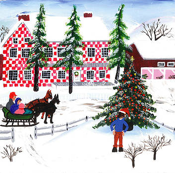 Grandma Moses Style Christmas Tree Scene by E Gibbons