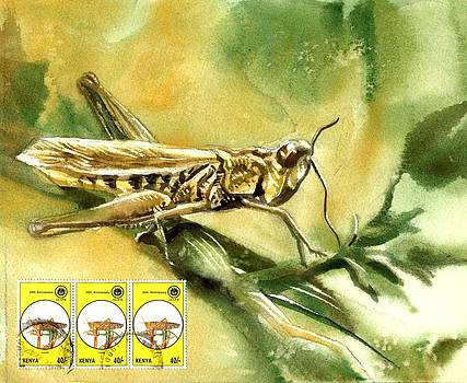 Alfred Ng - grasshopper painting with stamps